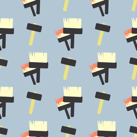rollerbrush: Paint brush and hammer. children s illustration. used for printing, the website, smart phone, design, textiles, ceramics, fabrics prints postcards packaging etc Illustration