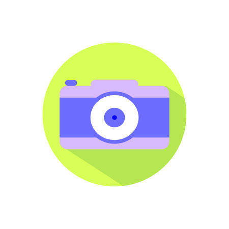 len: Photo camera on a white background in a bright circle.