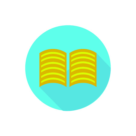 Book on a white background in a bright circle. Illustration