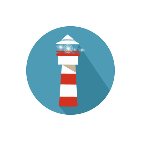 Lighthouse on a white background in a bright circle. Illustration