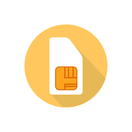 communications tools: SIM card on a white background in a bright circle. Illustration