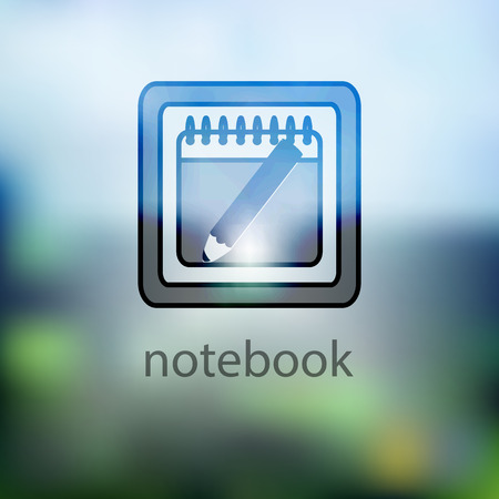 reading app: icon notebook on a blurred background. Illustrations used for print, website, smartphone, wallpaper, ornaments, decorations etc
