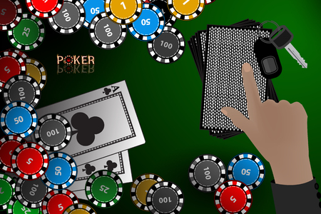 Casino card. hand hold a stack of cards. winnings chips. illustration to use for printing, website, smart phone, wallpaper, decoration, decorations, etc