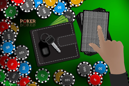casino chips on hand a stack of cards choice. illustration to use for printing, website, smart phone, wallpaper, decoration, decorations, etc.