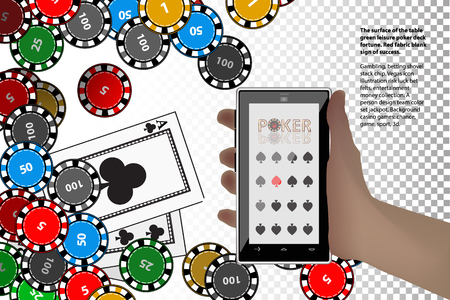 smart card: casino chips hand derzhitsmart phone on a white background. winnings concept. illustration to use for printing, website, smart phone, wallpaper, decoration, decorations, etc. Illustration