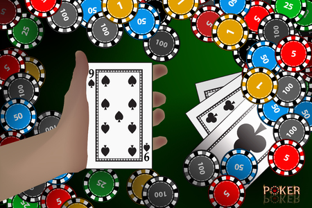 Casino card. card on hand. winnings chips. illustration to use for printing, website, smart phone, wallpaper, decoration, decorations etc Illustration