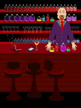 the bartender at the bar. concept of entertainment and recreation. illustration. use a smart phone, website, printing, decorating etc ..