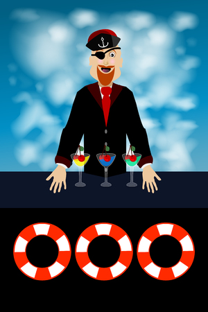 captain with glasses against the sky. concept of entertainment and recreation. illustration. use a smart phone, website, printing, decorating etc ..
