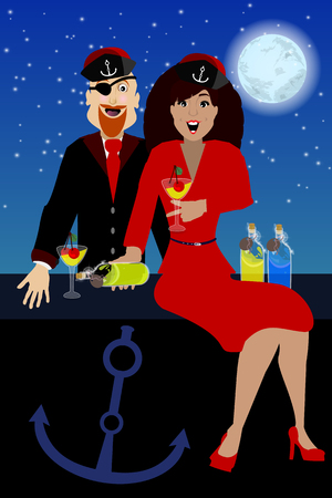 dinner date: captain of the girl against the sky. concept of entertainment and recreation. illustration. use a smart phone, website, printing, decorating etc ...