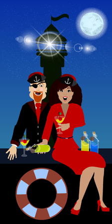 dinner date: Captain girl and drink on the background of a lighthouse. concept of entertainment and recreation. illustration. use a smart phone, website, printing, decorating etc ... Illustration