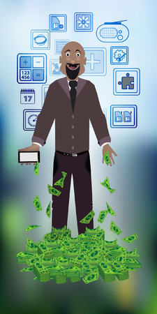 man with dollars on a photo background. concept of finance. illustration. use a smart phone, website, printing, decorating etc ..