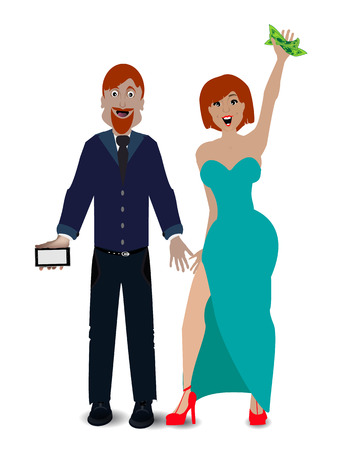 companionship: a pair of lovers on a white background. concept relationships. illustration. use a smart phone, website, printing, decorating etc .. Illustration
