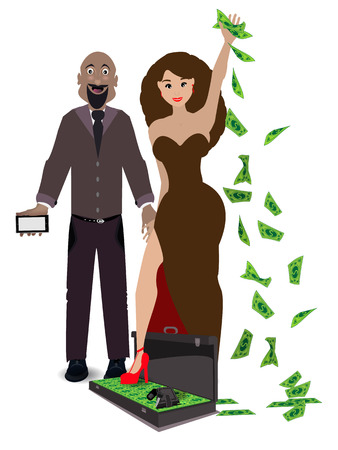 a pair of lovers on a white background with a case of money. concept relationships. illustration. use a smart phone, website, printing, decorating etc ...