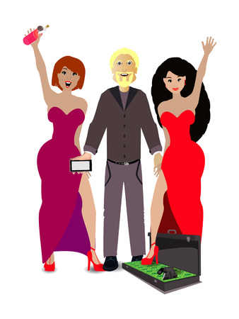 the man with the girls and the case with money on a white background. concept of finance. illustration. use a smart phone, website, printing, decorating etc ... 版權商用圖片 - 73134488