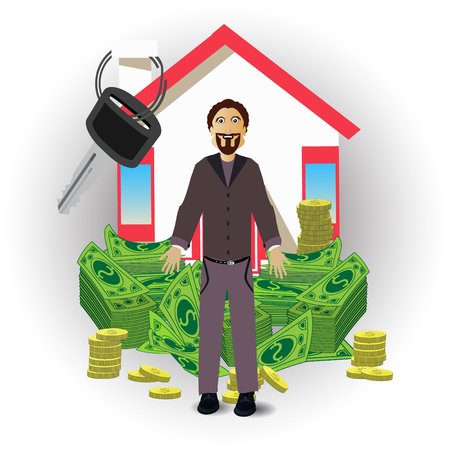 salaryman: a man with a house and a pack of money on white background. concept of finance. illustration. use a smart phone, website, printing, decorating etc ...