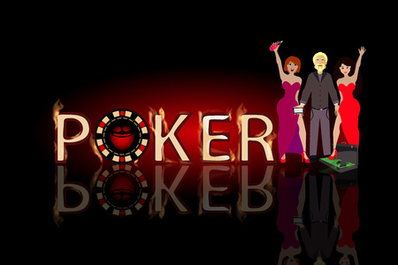 humbug: poker winnings and winning. concept of finance. illustration. use a smart phone, website, printing, decorating etc Illustration