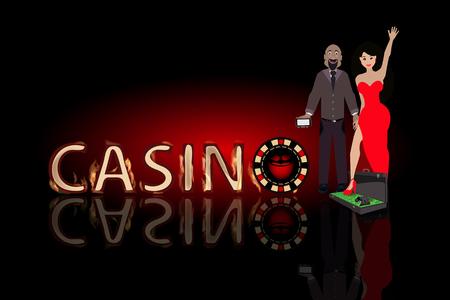 humbug: Poker winnings pair of lovers. concept of finance. illustration. use a smart phone, website, printing, decorating etc . Illustration