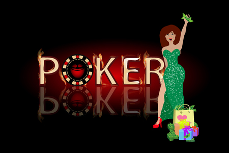 humbug: poker victory woman in a green dress. concept of finance. illustration. use a smart phone, website, printing, decorating etc .. Illustration