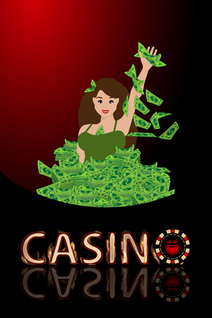 Casino girl to sink a lot of money. concept of finance. illustration. use a smart phone, website, printing, decorating etc ..