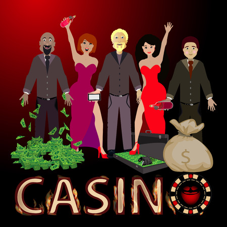 people win a casino and a bunch of dollar bag and case. concept of finance. illustration. use a smart phone, website, printing, decorating etc ...