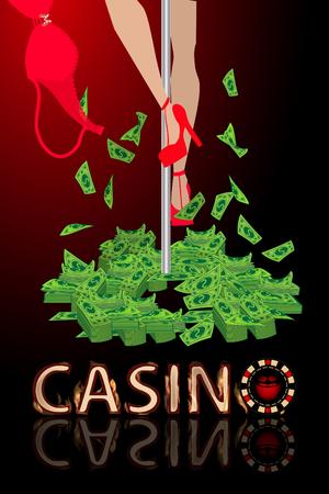 strip club: Casino entertainment strip bra money. illustration. use a smart phone, website, printing, decorating etc