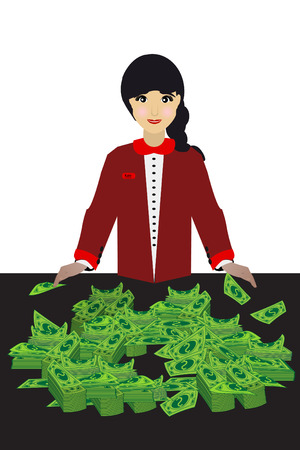 Banker girl money. concept of education. illustration. use a smart phone, website, printing, decorating etc Illustration