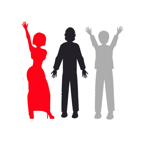 people silhouette. illustration. use a smart phone, website, printing decorating etc Illustration
