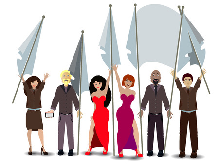 manifest: rally. people with flags. illustration. use a smart phone, website, printing decorating etc