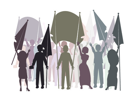manifest: gay parade. people to the rally. illustration. use a smart phone, website, printing, decorating etc Illustration