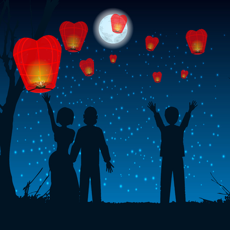 Thailand, Loy Krathong and Yi Peng Festival, vector thai hot air balloonlet people silhouette sky lanterns into the sky on the hill. illustration. use a smart phone, website, printing, decorating etc ...