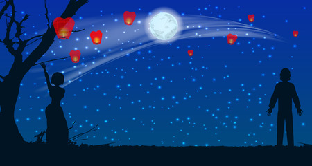 silhouette of lovers let the sky lanterns at the moon in the sky. illustration. use a smart phone, website, printing, decorating etc ...