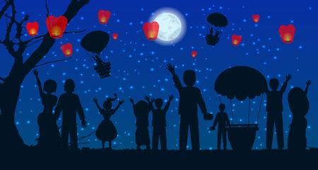 fireworks 'hope fireworks: date. people silhouette travel balloon. illustration. use a smart phone, website, printing decorating etc Illustration