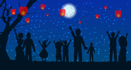 let people silhouette sky lanterns at the moon in the sky. illustration. use a smart phone, website, printing, decorating etc ... Illustration