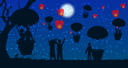 aglow: people silhouette travel balloon. illustration. use a smart phone, website, printing, decorating etc