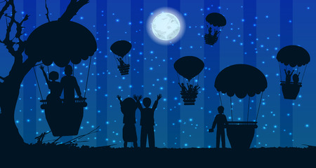 aglow: people silhouette travel landscape air balloon. illustration. use a smart phone, website, printing, decorating etc .