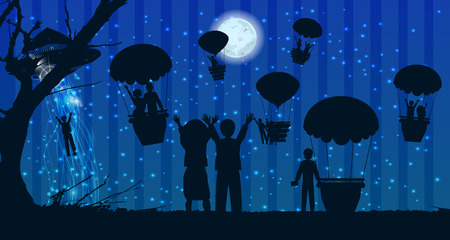 UFOs kidnapping people silhouette travel landscape air balloon. illustration. use a smart phone, website, printing, decorating etc ..