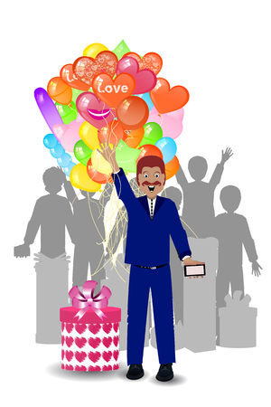 man with a gift for the woman and balloons. illustration. use a smart phone, website, printing, decorating etc .. Illustration