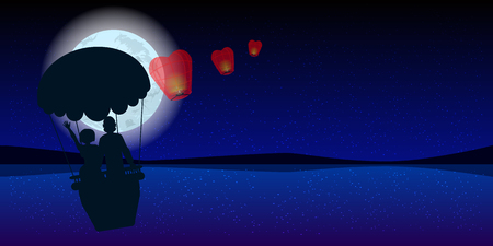 couple in a hot air balloon with sky lanterns. illustration. use a smart phone, website, printing, decorating etc .. Illustration