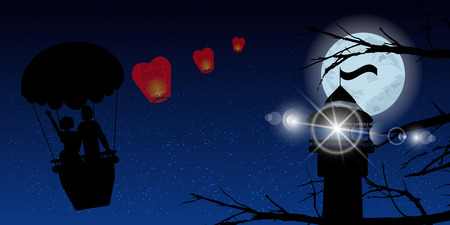 hot couple: couple in a balloon and lighthouse. illustration. use a smart phone, website, printing, decorating etc .