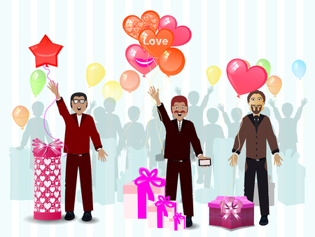 a gift from the men March 8 Women s Day. illustration. use a smart phone, website, printing, decorating etc .. Illustration