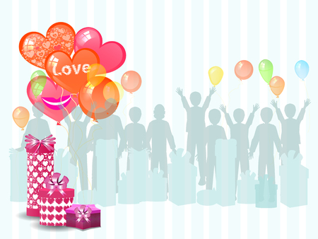 a gift from the men with balloons. illustration. use a smart phone, website, printing, decorating etc .
