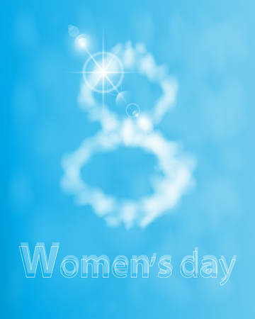 out of use: Women s Day Digits eight out of the clouds. illustration. use a smart phone, website, printing, decorating etc ..