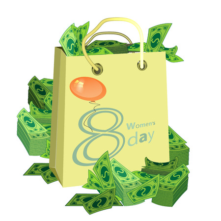 Women s Day is a figure eight shopping bag money. illustration. use a smart phone, website, printing, decorating etc ...