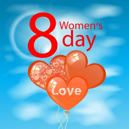 Women s Day is a figure eight clouds balloons in the shape of heart. illustration. use a smart phone, website, printing, decorating etc ... Illustration