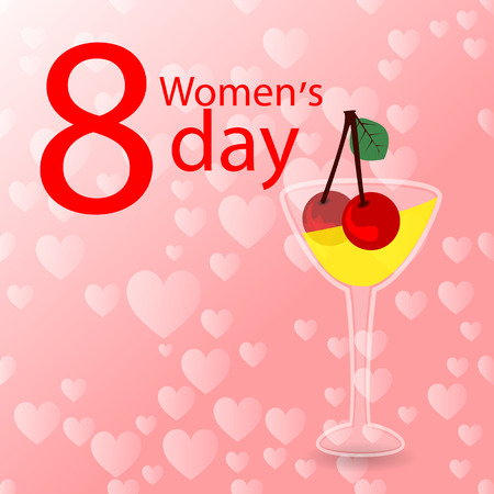 women s Day. glass with drink and cherry illustration. use a smart phone, website, printing, decorating etc .. Illustration