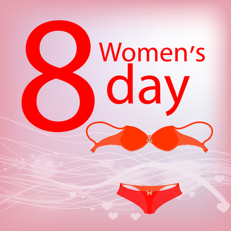 women s Day. Underwear. bra and panties. use a smart phone, website, printing, decorating etc