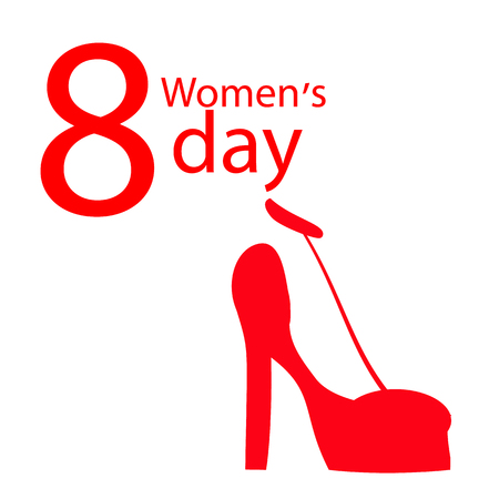 Women s Day red shoe. use a smart phone, website, printing, decorating etc .
