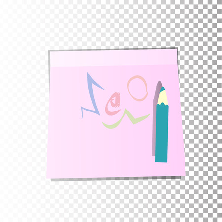 announcing: Scribble. Office paper sticker sheet pink or a sticky label with shadow isolated on a transparent background. Vector for your design. Illustration