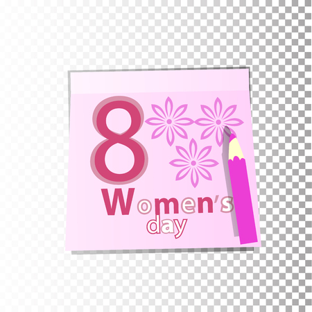 International Women s Day March 8. Office paper sticker sheet with pink flowers or sticky label with shadow isolated on a transparent background. Vector for your design.