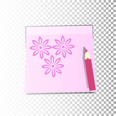 Office paper sticker sheet pink with flowers or a sticky label with shadow isolated on a transparent background. Vector for your design. Illustration